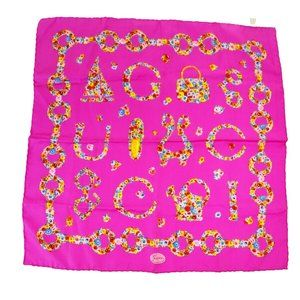 Auth Gucci Silk Scarf Flowers Pink